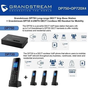 Grandstream DP750 DECT Base Station+DP720 DECT HD Handset 4-packs
