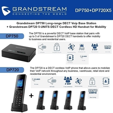 Grandstream DP750 DECT Base Station+DP720 DECT HD Handset 5-Packs