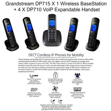 Grandstream BUNDLE of DP715 DECT IP Phone+4pk DP710 DECT IP Phones