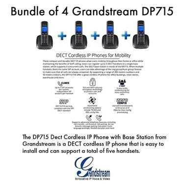 Grandstream DP715 Bundle Of 4-Pack DECT Phone Handset And Base Station