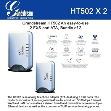 Grandstream HT502 Bundle of 2-Pack 2-FXS-port Analog Telephone Adapter