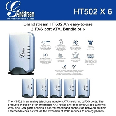 Grandstream HT502 Bundle of 6-packs VoIP router Analog phone Adaptor
