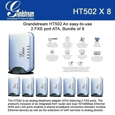 Grandstream HT502 Bundle of 8-packs VoIP router Analog phone Adaptor