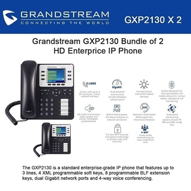 Grandstream GXP2130 Bundle of 2-Packs HD Enterprise IP phone 3 lines