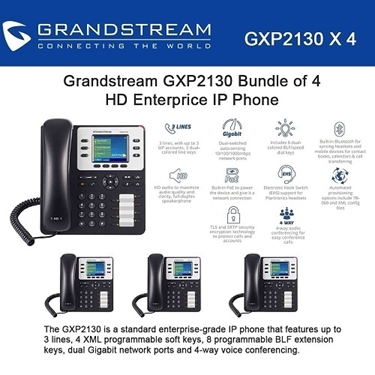 Grandstream GXP2130 Bundle of 4-Packs HD Enterprise IP phone 3 lines