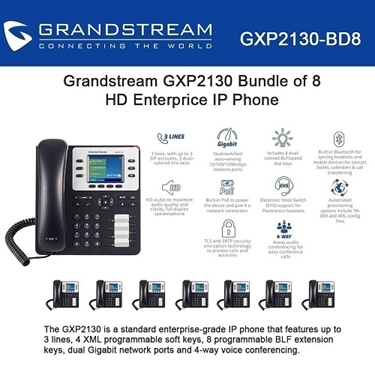 Grandstream GXP2130 Bundle of 8-Packs HD Enterprise IP phone 3 lines
