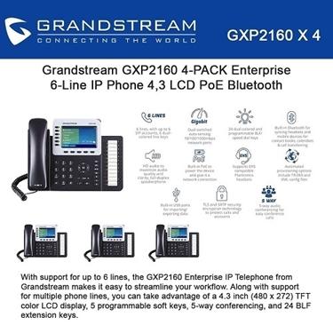 Grandstream GXP2160 Bundle Of 4-Packs Enterprise 6-Line IP Phone
