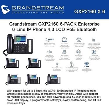 Grandstream GXP2160 Bundle of 6-packs Enterprise 6-Line IP Phone