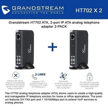 Grandstream HT702 Bundle Of 2-Packs IP ATA Analog Telephone Adapter