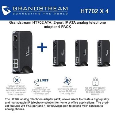 Grandstream HT702 Bundle of 4-packs IP ATA analog telephone adapter