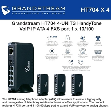 Grandstream HT704 Bundle Of 4-Packs ATA Analog Telephone Adapter