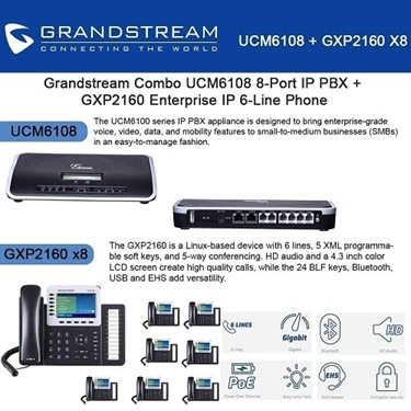 Grandstream Combo UCM6108 8 Port IP PBX+8x GXP2160 Enterprise IP Phone