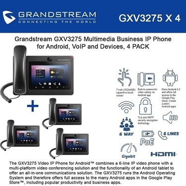 Grandstream GXV3275 Bundle Of 4-Packs Multimedia Business IP Phone