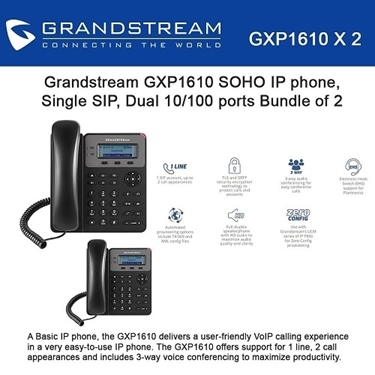 Grandstream GXP1610 Bundle Of 2-Packs SOHO 1-SIP IP Phone