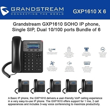 Grandstream GXP1610 Bundle of 6-packs SOHO 1-SIP IP Phone