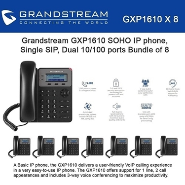 Grandstream GXP1610 Bundle of 8-packs SOHO 1-SIP IP Phone