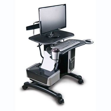 Aidata PCC004P Ergonomic Sit-Stand Mobile Computer Desk Work Station Cart