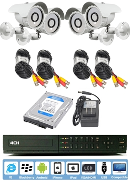 4-CH Standalone 960H DVR W/HDMI And QR Reader Along With 4 Bullet Camera And Pre Installed 250GB HD