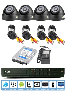 4-CH Standalone 960H DVR W/HDMI And QR Reader Along With 4 Dome Camera And Pre Installed 250GB HD