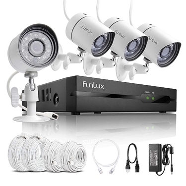 Funlux 4CH NVR 4 1280*720P HD IP Network PoE Outdoor Home Security Camera System