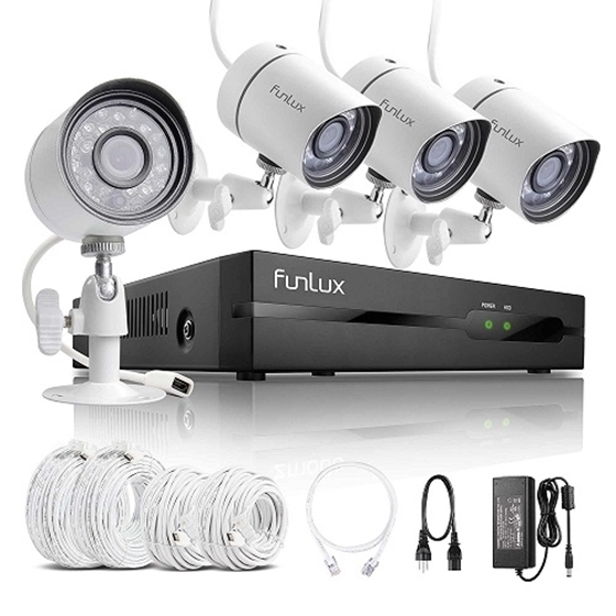 Funlux 4CH NVR 4 1280*720P HD IP Network PoE Outdoor Home Security ...