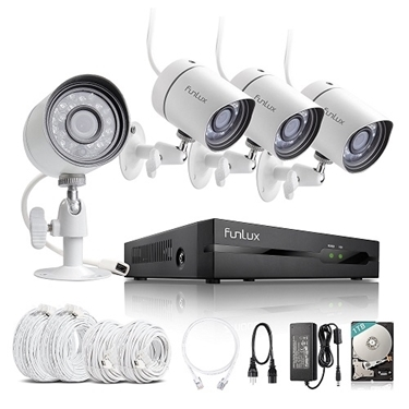 Funlux 4 CH 720p NVR IP Simplified PoE Outdoor Indoor Security Camera System 1TB Hard Drive