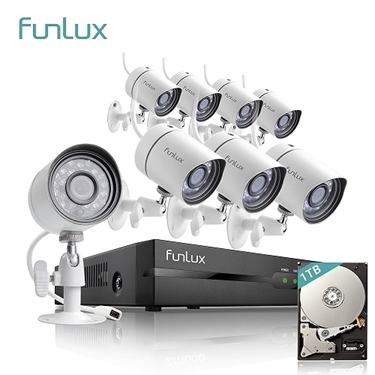 Funlux 8 CH 720p NVR Motion Detection Simplified PoE Outdoor Indoor Security Camera System 1TB Hard Drive