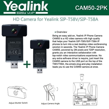 Yealink CAM50 2-Units  2-Mega pixel HD Camera for T58V and T58A