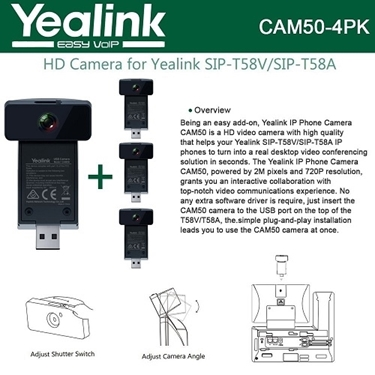 Yealink CAM50 4-Units  2-Mega pixel HD Camera for T58V and T58A