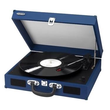 Jensen JTA-410-BLUE Portable 3-Speed Turntable with Speakers Blue