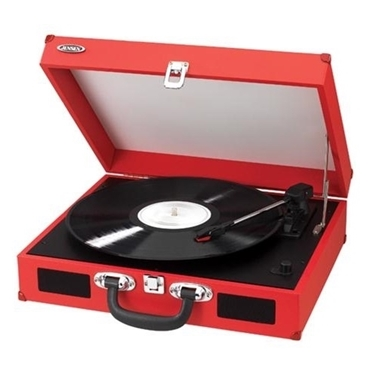 Jensen JTA-410-RED Portable 3-Speed Turntable with Speakers Red
