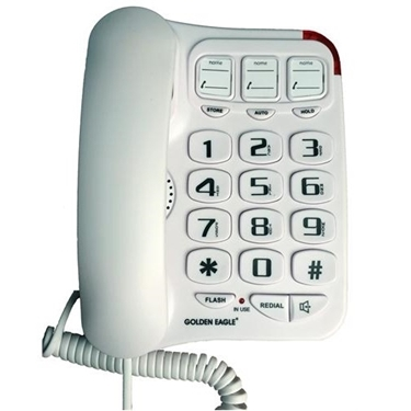 Golden Eagle GEE3104WH Big Button Phone with Speakerphone White