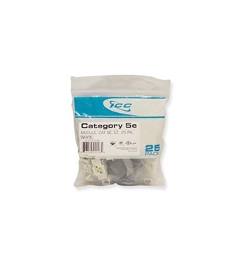 Picture of ICC-CAT5JKPK-WH IC107E5CWH - 25PK Cat5 Jack - White EZ