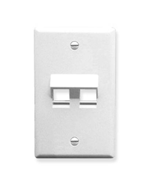 Picture of ICC-IC107DA2WH FACEPLATE, ANGLED, 1-GANG, 2-PORT, WHITE