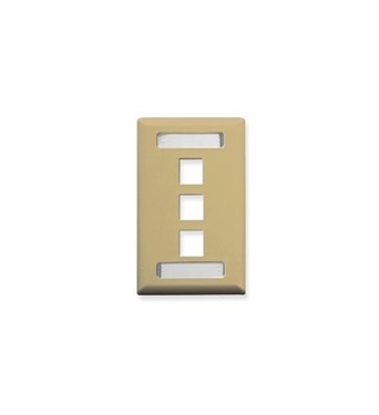 Picture of ICC-IC107S03IV FACEPLATE, ID, 1-GANG, 3-PORT, IVORY