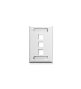 Picture of ICC-IC107S03WH FACEPLATE, ID, 1-GANG, 3-PORT, WHITE