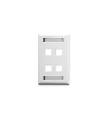 Picture of ICC-IC107S04WH FACEPLATE, ID, 1-GANG, 4-PORT, WHITE