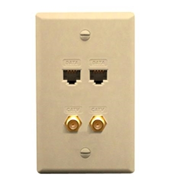 Picture of ICC-ICRDS2F5IV FACEPLATE IDC 2 DATA and 2 F TYPE IVORY